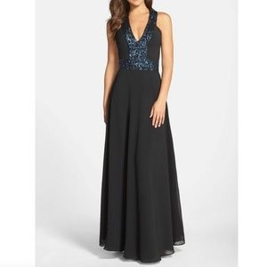 DRESS THE POPULATION Navy Sequins Racerback Gown